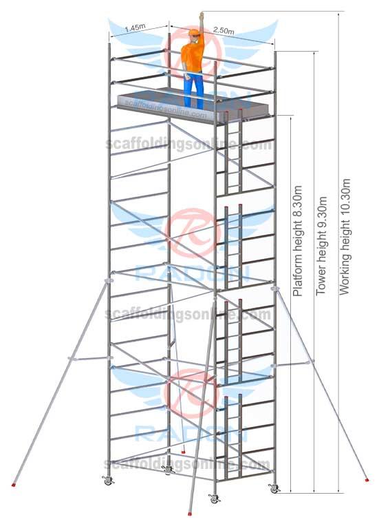 1.45m x 2.50m - Working Height 10.30m