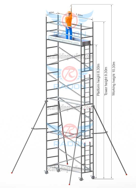 0.80m X 1.80m - Working Height 10.30m