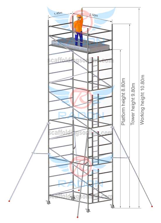 1.45m x 2.50m - Working Height 10.80m