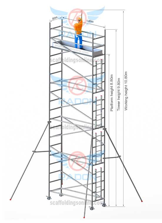 0.80m X 1.80m - Working Height  10.80m