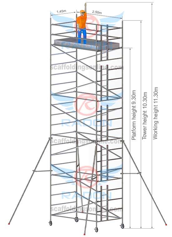1.45m x 2.50m - Working Height 11.30m