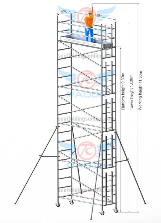 0.80m X 1.80m - Working Height 11.30m