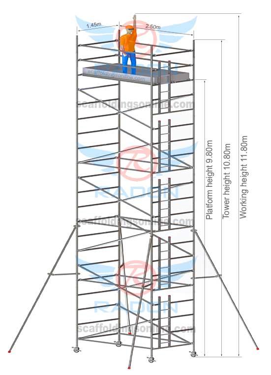 1.45m x 2.50m - Working Height 11.80m