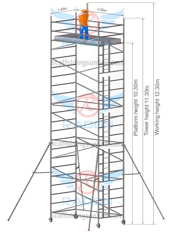 1.45m x 2.50m - Working Height 12.30m