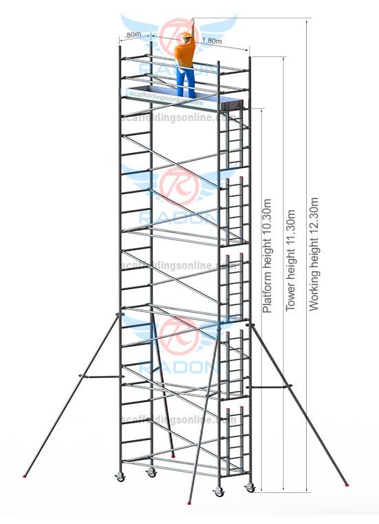 0.80m X 1.80m - Working Height 12.30m
