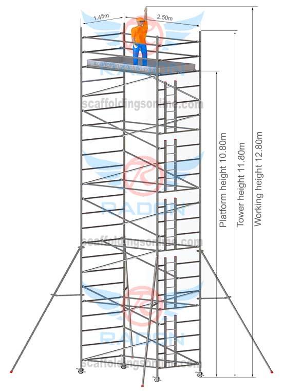 1.45m X 2.50m - Working Height 12.80m