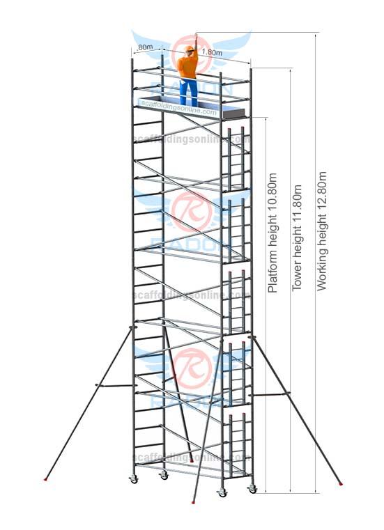 0.80m X 1.80m - Working Height 12.80m