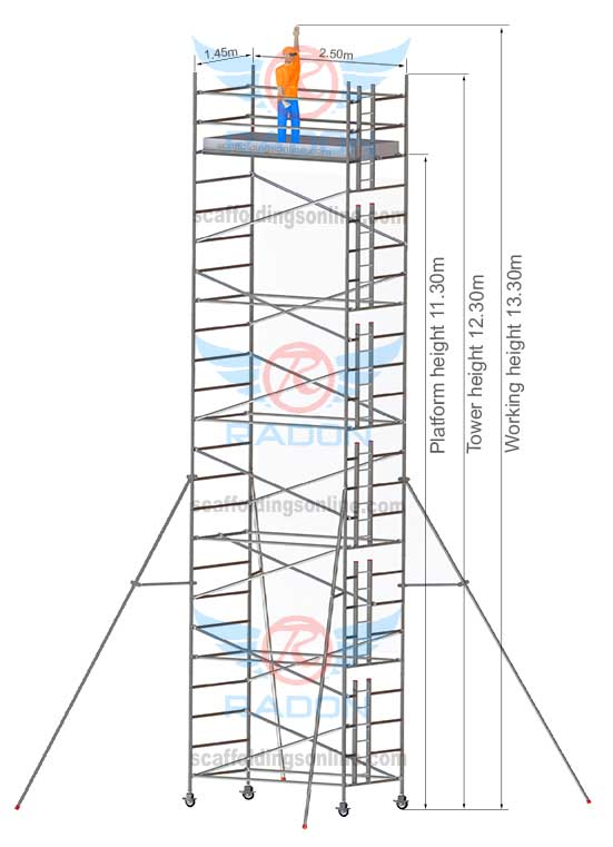1.45m X 2.50m - Working Height 13.30m