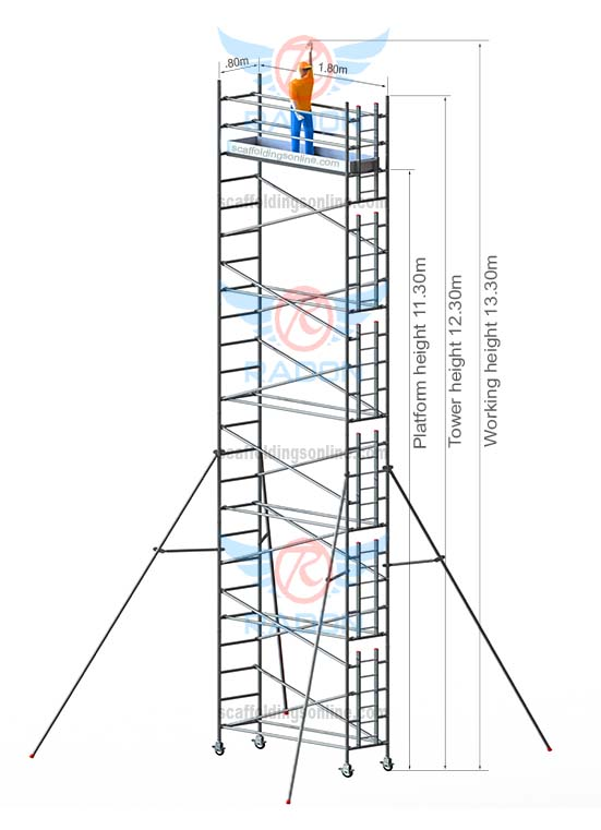 0.80m X 1.80m - Working Height  13.30m