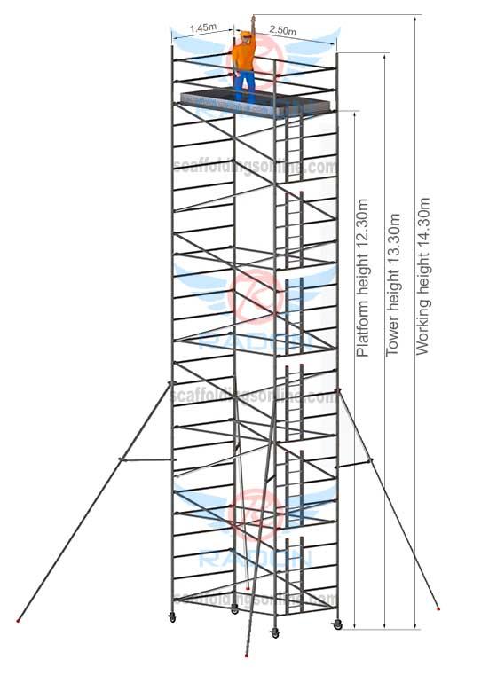 1.45m X 2.50m - Working Height 14.30m