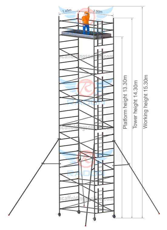 1.45m X 2.50m - Working Height 15.30m