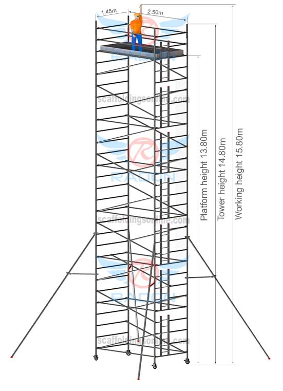 1.45m X 2.50m - Working Height 15.80m
