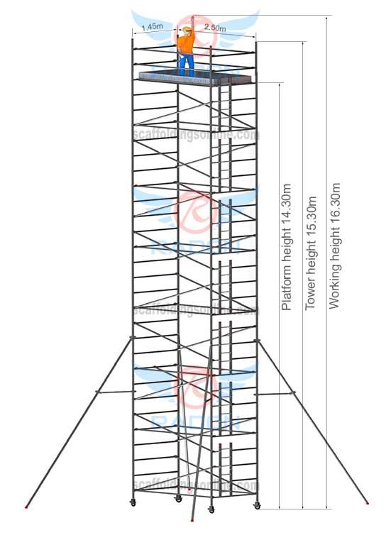 1.45m X 2.50m - Working Height 16.30m