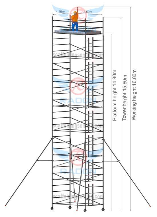 1.45m X 2.50m - Working Height 16.80m
