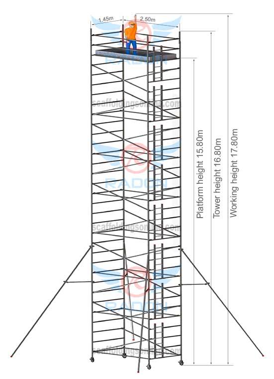 1.45m X 2.50m - Working Height 17.80m
