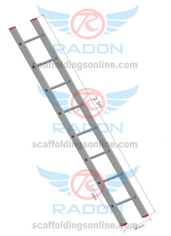 Aluminum Straight Ladder 2.5m - 8Steps