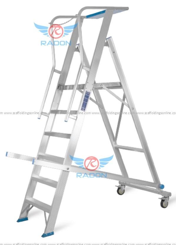 Warehouse Rolling Aluminum Ladder 5+1 Steps 2.5m