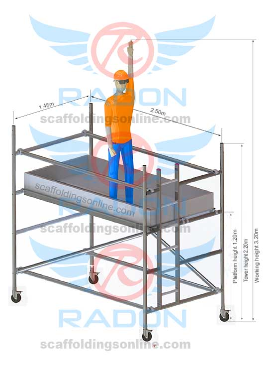 1.45m x 2.50m - Working Height 3.20m