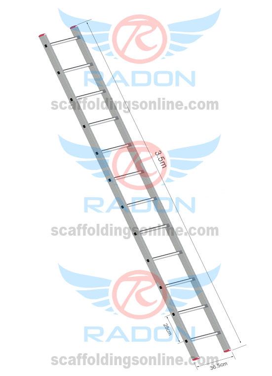 Aluminum Straight Ladder 3.5m - 12 steps