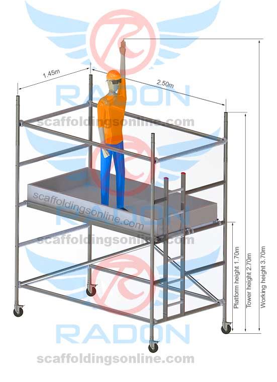 1.45m x 2.50m - Working Height 3.70m
