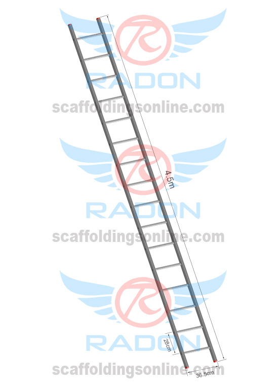 Aluminium Straight Ladder 4.5m-15 Steps