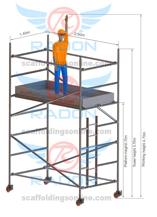 1.45m x 2.50m - Working Height 4.70m