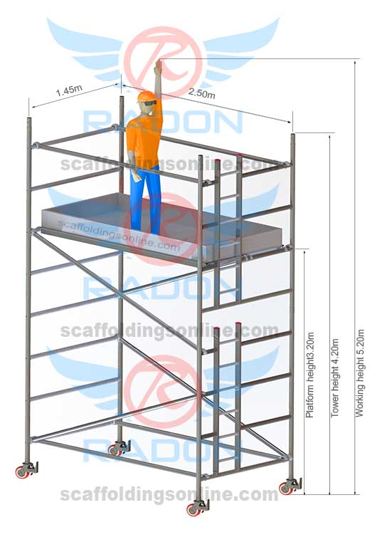 1.45m x 2.50m - Working Height 5.20m