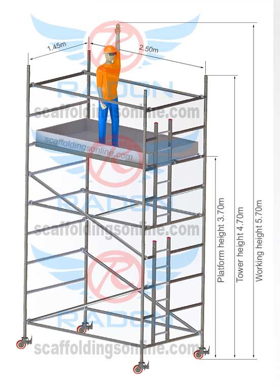 1.45m x 2.50m - Working Height 5.70m