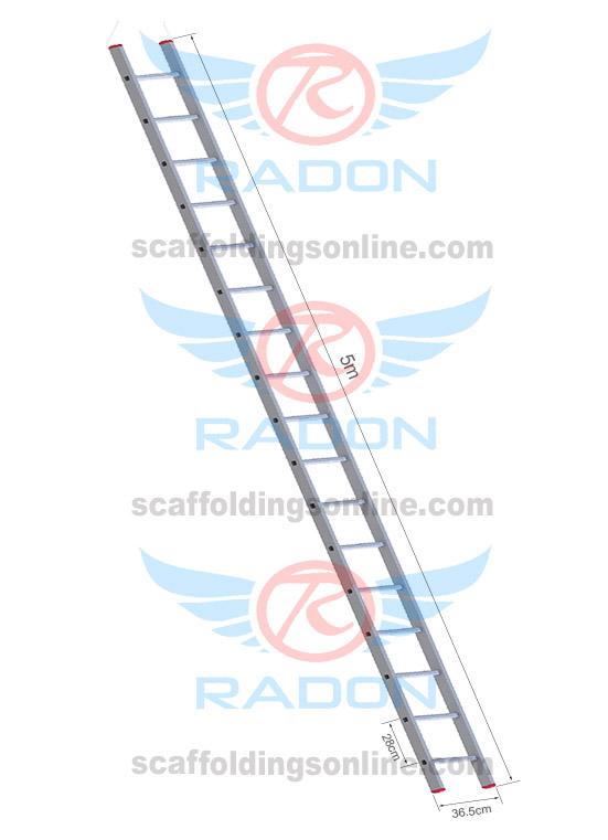 Aluminum Straight Ladder 5.0m - 17 steps