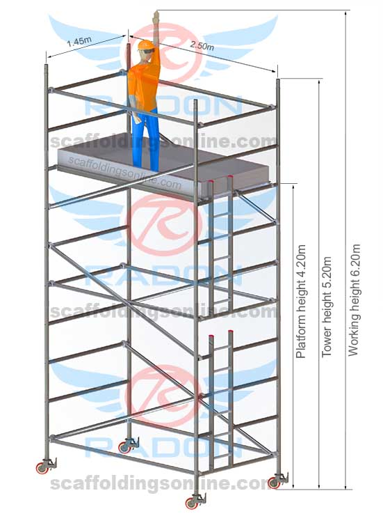 1.45m x 2.50m - Working Height 6.20m