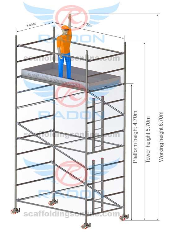 1.45m x 2.50m - Working Height 6.70m