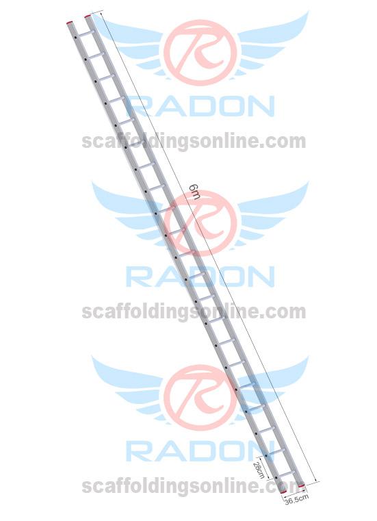 Aluminum Straight Ladder 6.0m - 21 Steps