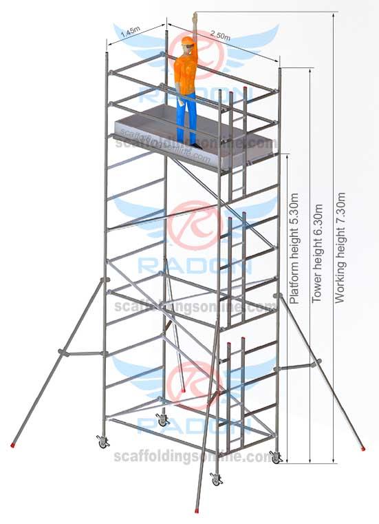 1.45m x 2.50m - Working Height 7.30m