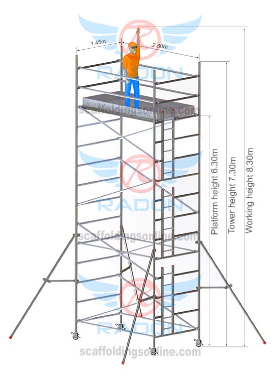 1.45m X 2.50m - Working Height 8.30m