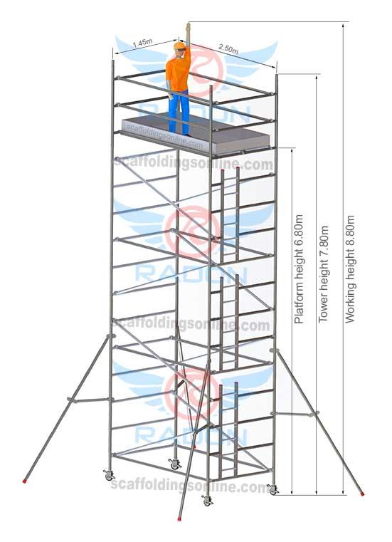 1.45m x 2.50m - Working Height 8.80m