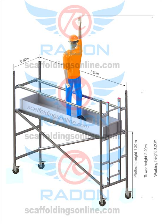wrong product need to remove 0.80m x 1.80m - Working Height 3.20m