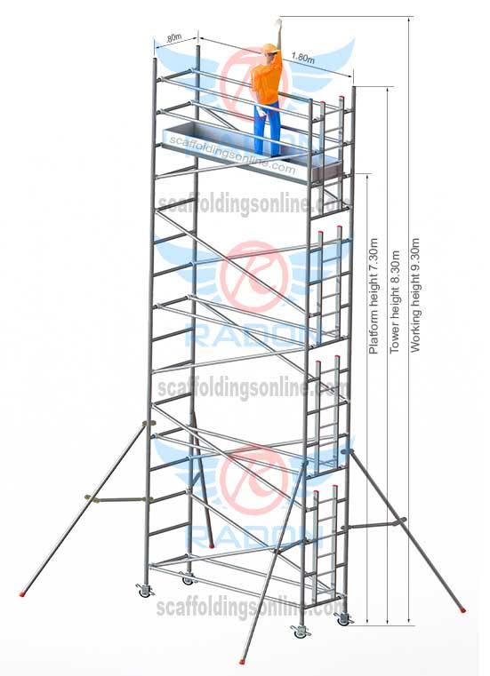 0.80m X 1.80m - Working Height 9.30m