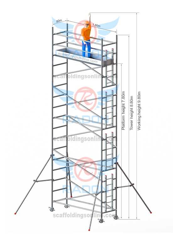 0.80m X 1.80m - Working Height  9.80m