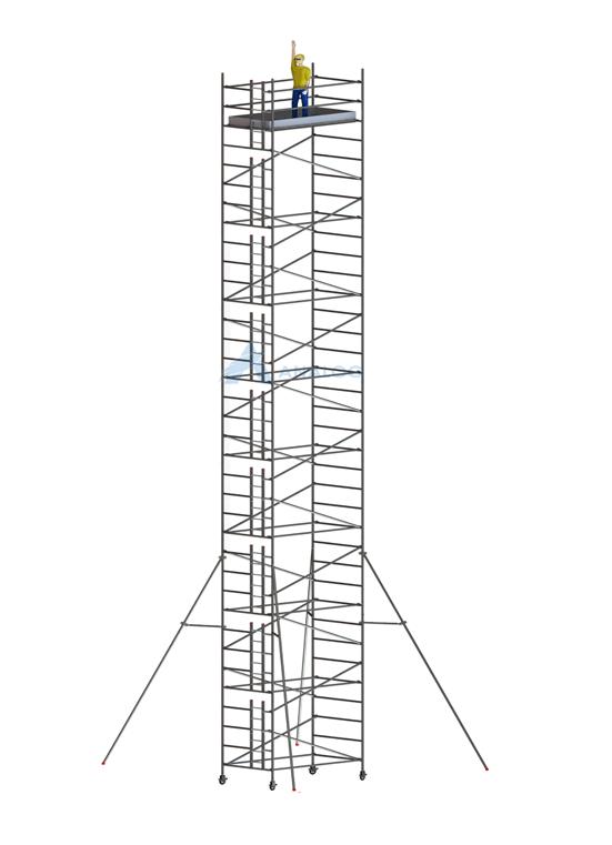 Double Width 1.45 m (Width) x 2.50 m (Length) - Aluminum Scaffolding Mobile Tower 18.30 m