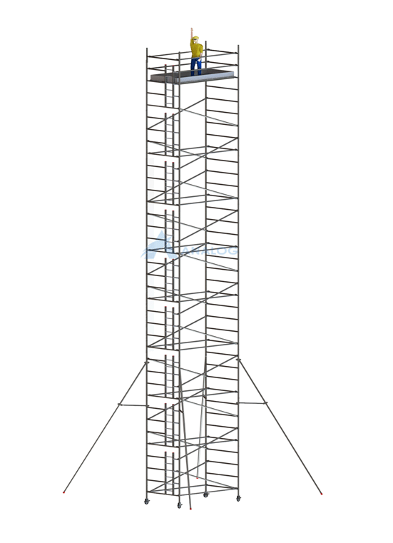 Double Width 1.45 m (Width) x 2.50 m (Length) - Aluminum Scaffolding Mobile Tower 18.80 m