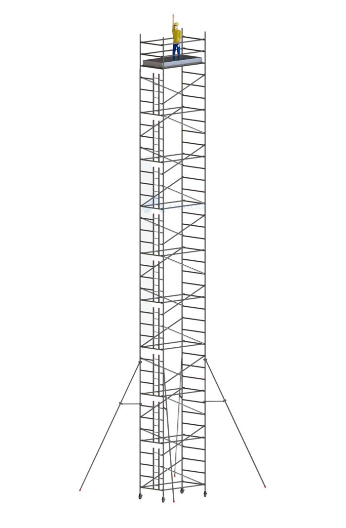 Double Width 1.45 m (Width) x 2.50 m (Length) - Aluminum Scaffolding Mobile Tower 19.80 m