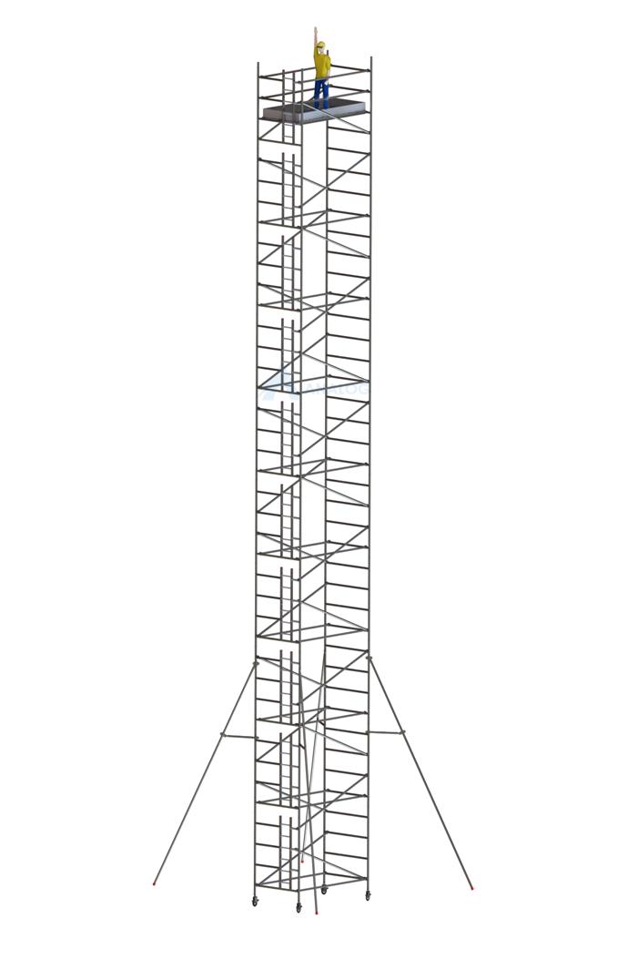 Double Width 1.45 m (Width) x 2.50 m (Length) - Aluminum Scaffolding Mobile Tower 20.30 m
