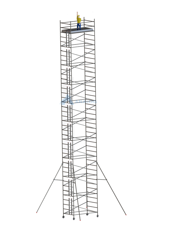 Double Width 1.45 m (Width) x 2.50 m (Length) - Aluminum Scaffolding Mobile Tower 21.30 m