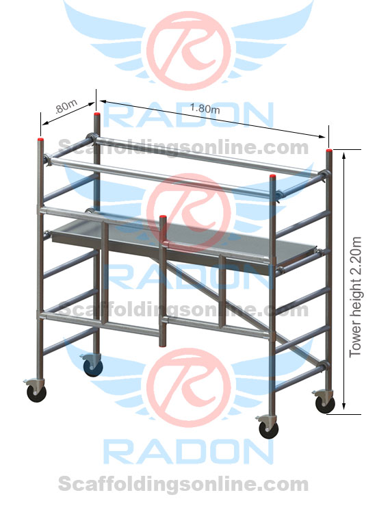 0.80m X 1.80m Foldable  - Working Height 3.20m