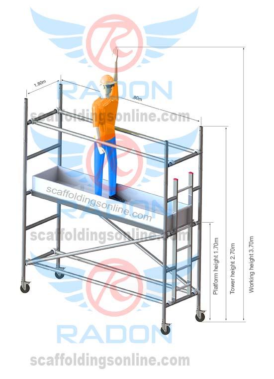 0.80m X 1.80m - Working Height 3.70m
