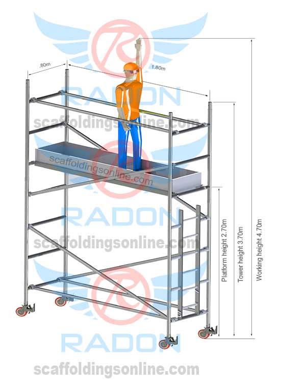 0.80m X 1.80m - Working Height 4.70m