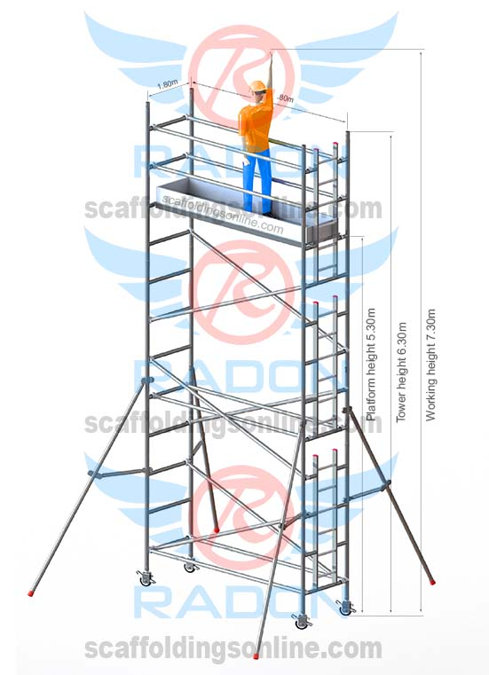 0.80m x 1.80m - Working Height 7.30m
