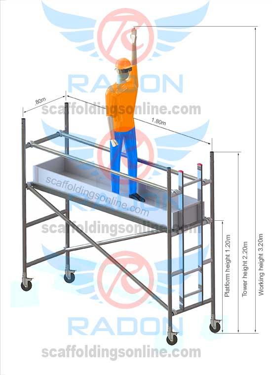 0.80m X 1.80m - Working Height 3.20m