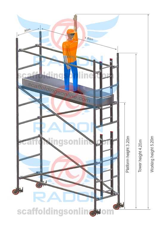 0.80m X 1.80m - Working Height  5.20m