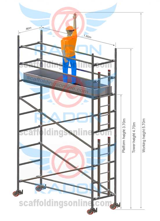0.80m X 1.80m - Working Height  5.70m